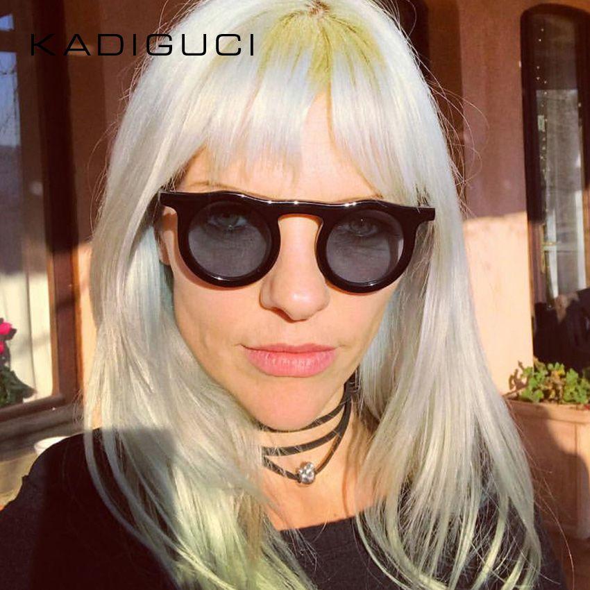 0f64e06cd8 Compre KADEGUCI Gafas De Sol Redondas Mujeres Hombres Diseñador De La Marca  De Plástico Circulares Gafas De Sol UV400 Negro Rojo Rosa Hembra Retro Gafas  ...