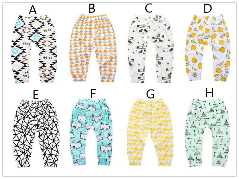 Infants cartoon patterns printing pants cute cactus bears watermelon lemon geometry pattern toddlers leggings 4 sizes for boys girls baby