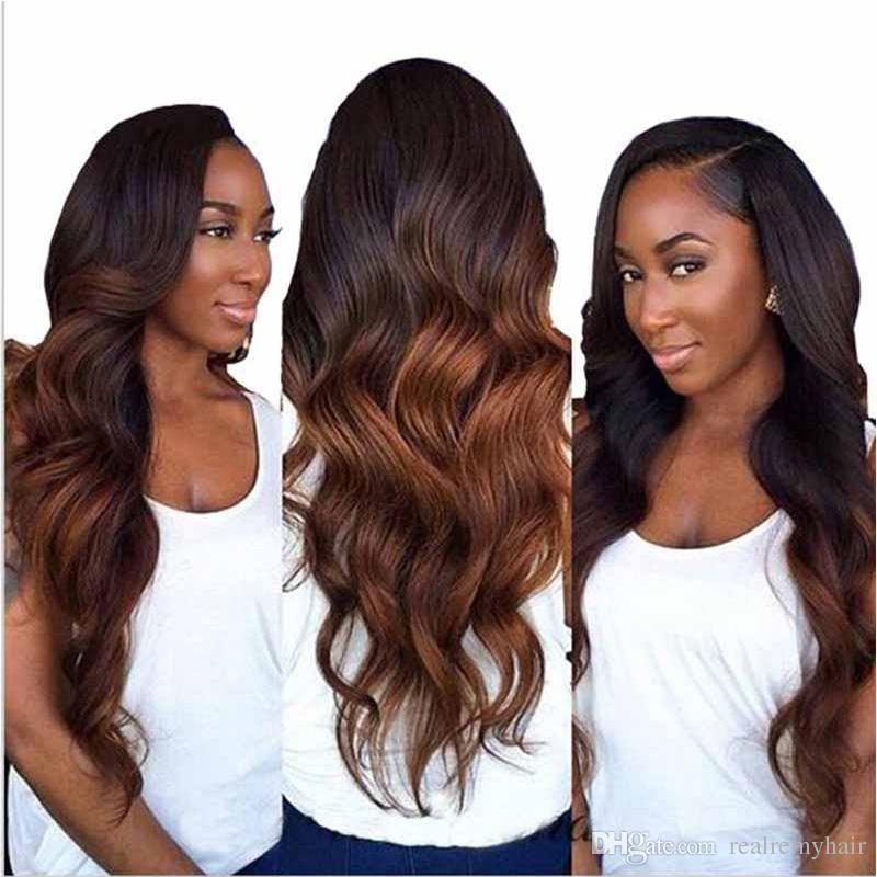 Brazilian Ombre Hair Extension Two Tone 430 Body Wave Brown Human