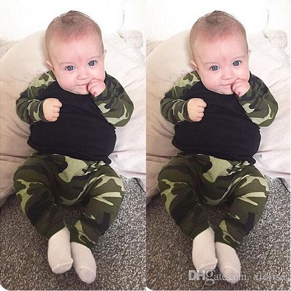 Yenidoğan Bebek Giysileri 2018 İlkbahar Sonbahar Bebek Erkek Kız Kamuflaj T-shirt + Pantolon Yürüyor bebek Kıyafet Seti