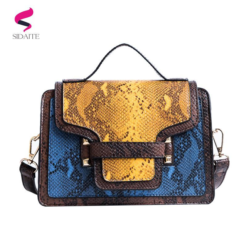 e843902c84 2019 Fashion Small Crossbody Bags For Women Fashion Snake Pu Leather Women  Bag Women Messenger Bag Over Shoulder Sac A Main Femme Ladies Purse  Designer ...