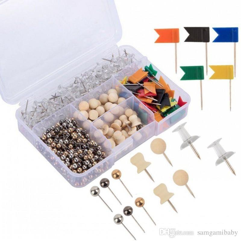 500 Stück praktische und dekorative Karte Reißzwecken Push Pins Set mit Aufbewahrungsbox für Home oder Office-Organisation, Bulletin Board