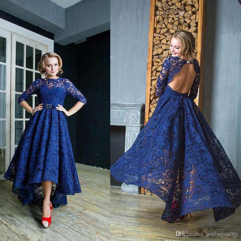 Lace Long Sleeve High Low Prom Dresses
