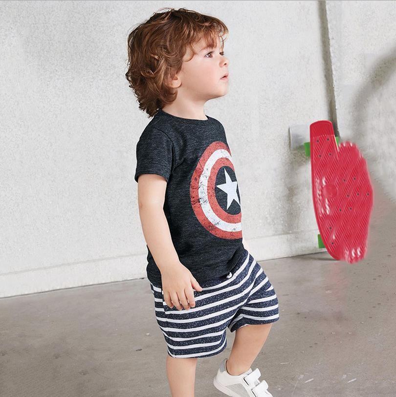 100% algodão capitão crianças roupas china crianças meninos roupas 6 anos  de idade de verão conjuntos de roupas curtas terno clássico para o menino  criança ... 585f71424c7c6