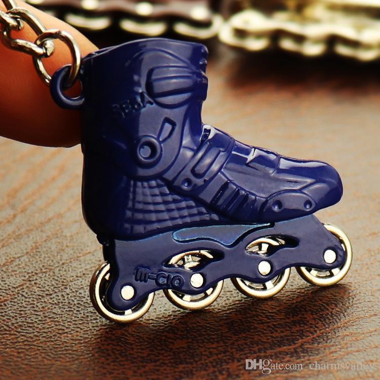 4 قطع البسيطة سكيت أحذية نموذج المفاتيح الرول الزلاجات الحلي النساء حقيبة سحر قلادة سيارة مفتاح سلسلة حلقة كيرينغ الرياضية السلع هدية