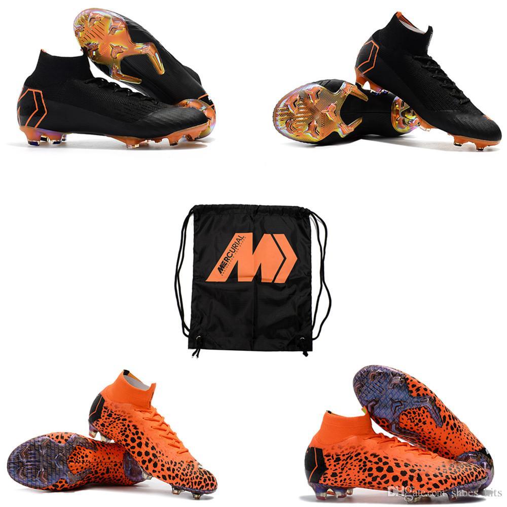 Compre 2018 Último Original Naranja Negro Mercurial Superfly KJ VI 360  Elite FG Mujer Hombre Zapatos De Fútbol Niños Botas De Fútbol Con Zapatos  De Fútbol ... 325975e373411