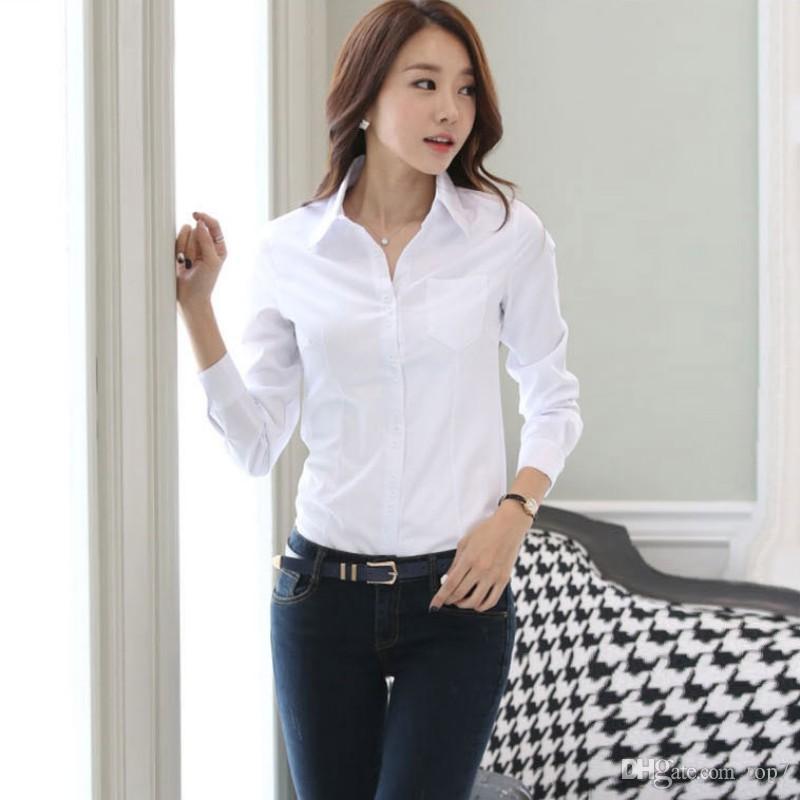 77a325a0e649 Camisa OL de las mujeres de moda de manga larga Turn-down Collar Button  Lady Blusa Tops blanco negro S3