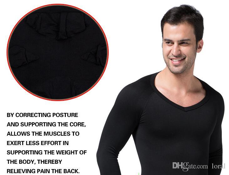 Männer Shaper Weste Körper Abnehmen V-Neck Unterwäsche Langarm Warm Korsett Shaper Männer S-XL Drei Farben