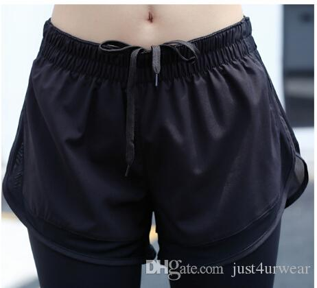 Kadın Pantolon Capris Kadınlar Sahte 2 adet Sıska Tayt Örgü Yoga Koşu Spor Salonu Fitness Pantolon