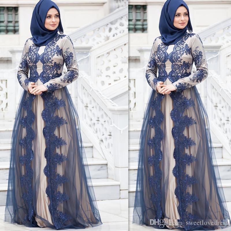 Elegant Muslim Long Seeve Evening Dress Jewel Lace A Line Formal Arabic Prom Gown Mother Of Bride Groom Wear