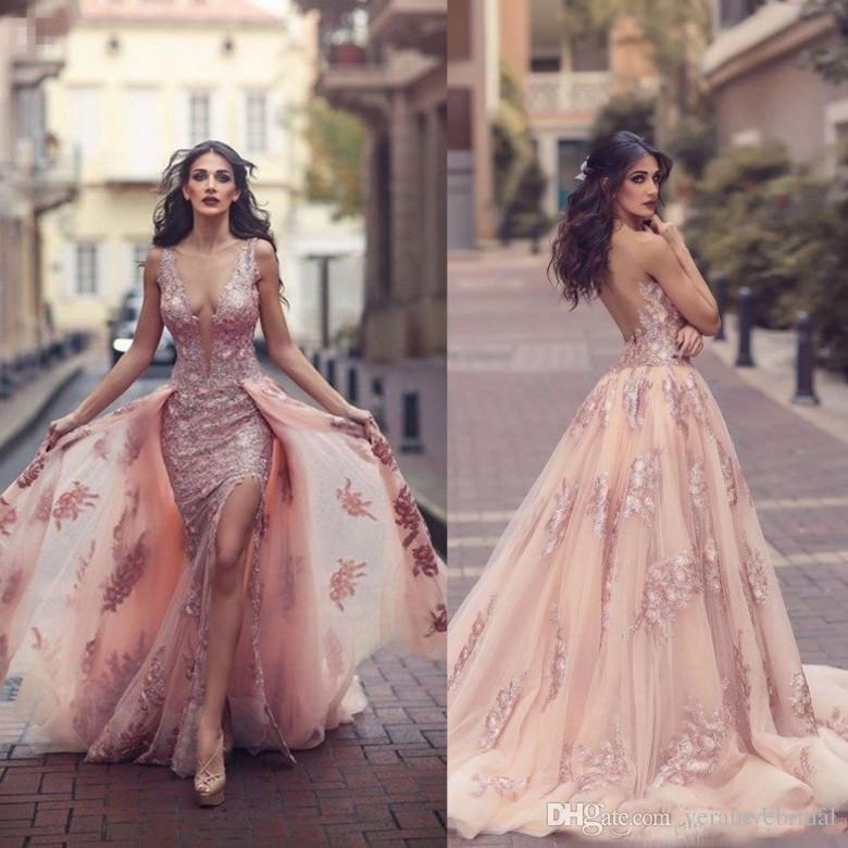 2d10bd40a4f6 Acquista Abiti Da Sera Rosa Saudita Arab Blush Con Scollo Invisibile  Trasparenti Corsetto A Forma Di Applique In Pizzo Abiti Da Cerimonia Con  Spacco ...