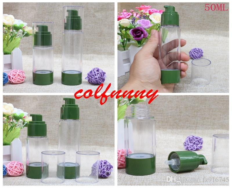 100 teile / los 30 ml 50 ml leere grüne flasche vakuumflasche hochdruckflasche, keine luft emulsion pumpe flasche parfümspender