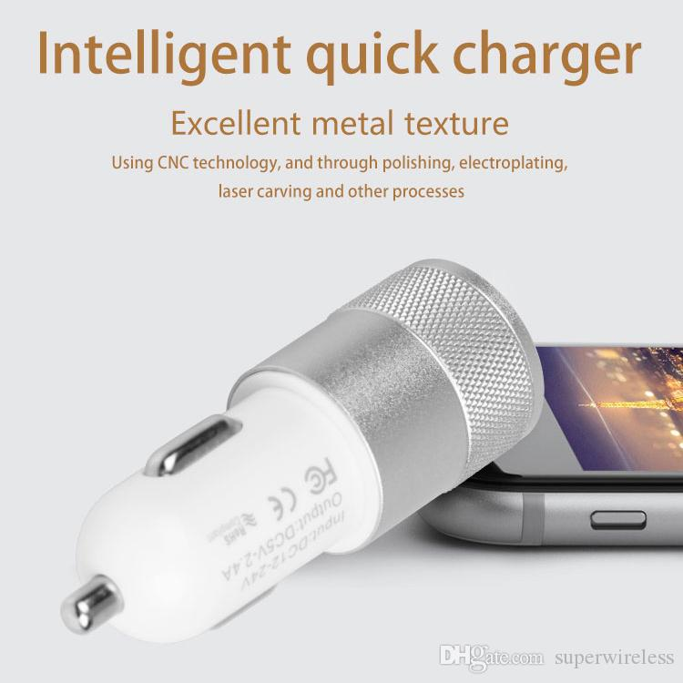 Dual USB Car Charger Adapter 3.1A 2 USB Ports Universal Intelligent Charging Auto Vehicle Metal Charger For Smart Phone Tablet