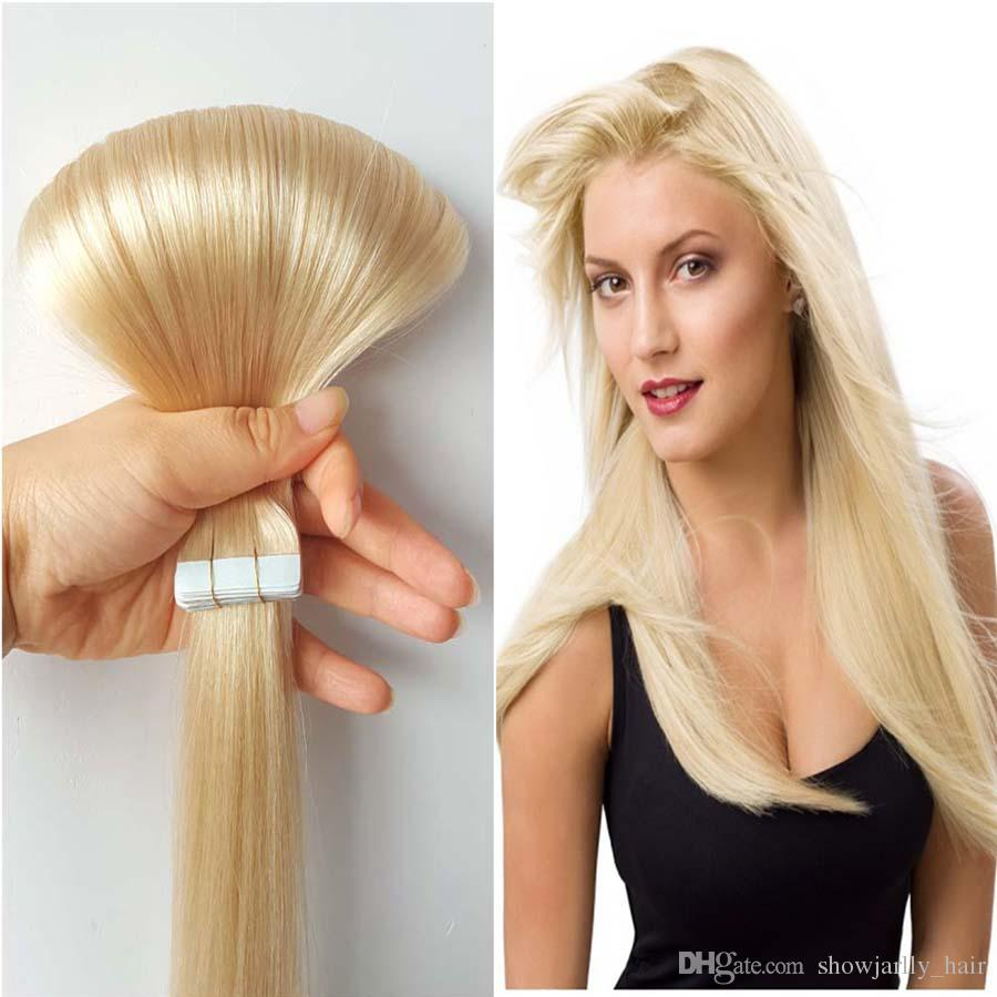 Showjarlly Seamless Tape In Remy Human Hair Extension Color 60