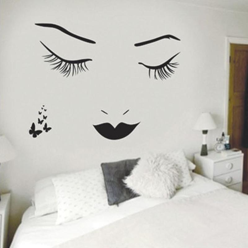 Applique Murale Charme Yeux Cils Autocollant Mural pour Chambre Salon Décoration Maison