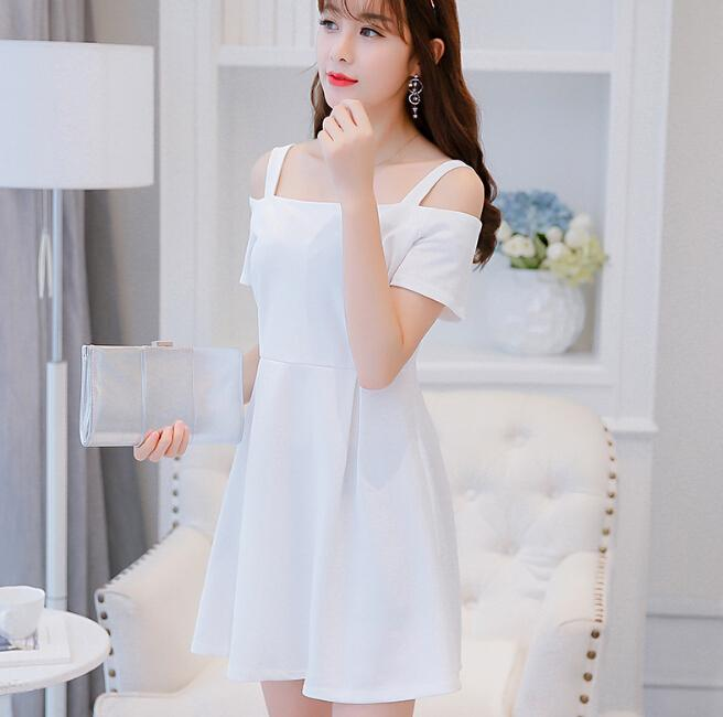 934251da5f51 Korean Summer Dress Women Clothing Cute Short Sleeve Dress Fashion Slash  Neck Condole Belt Dresses White Black Red Dress Vestidos Strapless Dress  White ...