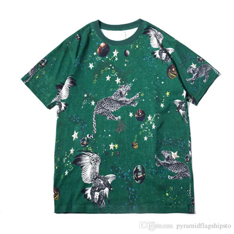 T-shirt Homme 3d Animal Imprimé Coton T Shirt Hommes Mode Hip Hop Vert T Chemises Casual Skateboard Top T-shirts