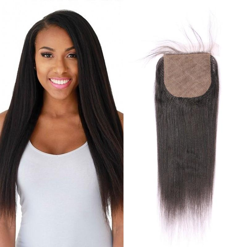 6b749c4f47e1c6 100% Peruvian Human Hair Light Yaki Silk Base Closure Middle Free 3 Way  Parting Top Closures FDshine Lace Frontal Piece Closure Wigs From ...