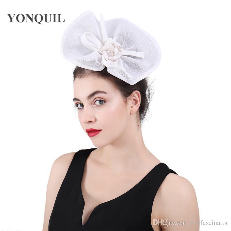 2018 New Design White Wedding Hats Fascinators Headband Flower Imitation  Linen Elegant Bridal Hats Women S Hat Hair Accessories SYF419 Designer  Wedding Hats ... 97602ee1c68