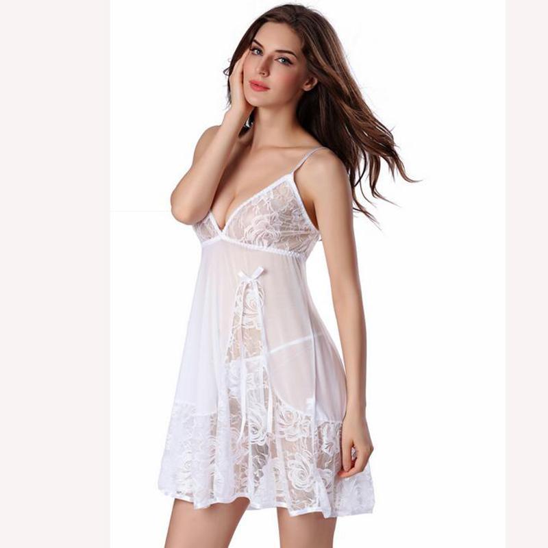 Hot 2017 Neue Frauen Sexy Nachtwäsche Plus Größe S ~ XXL Spitze Nachthemd Nachtwäsche Kleid G-String Sexy Dessous Robe Sexy AP426