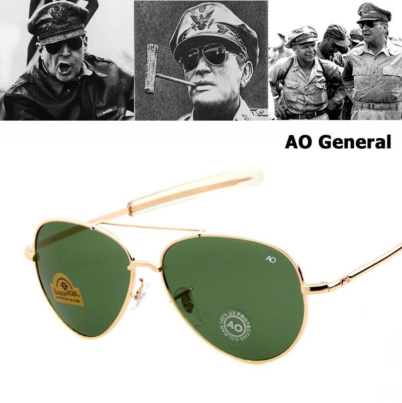 bb9553d32c781 Compre Atacado Exército MILITAR MacArthur Estilo Da Aviação AO Geral Óculos  De Sol Americano Lente De Vidro Óptico Homens Óculos De Sol Oculos De Sol  De ...