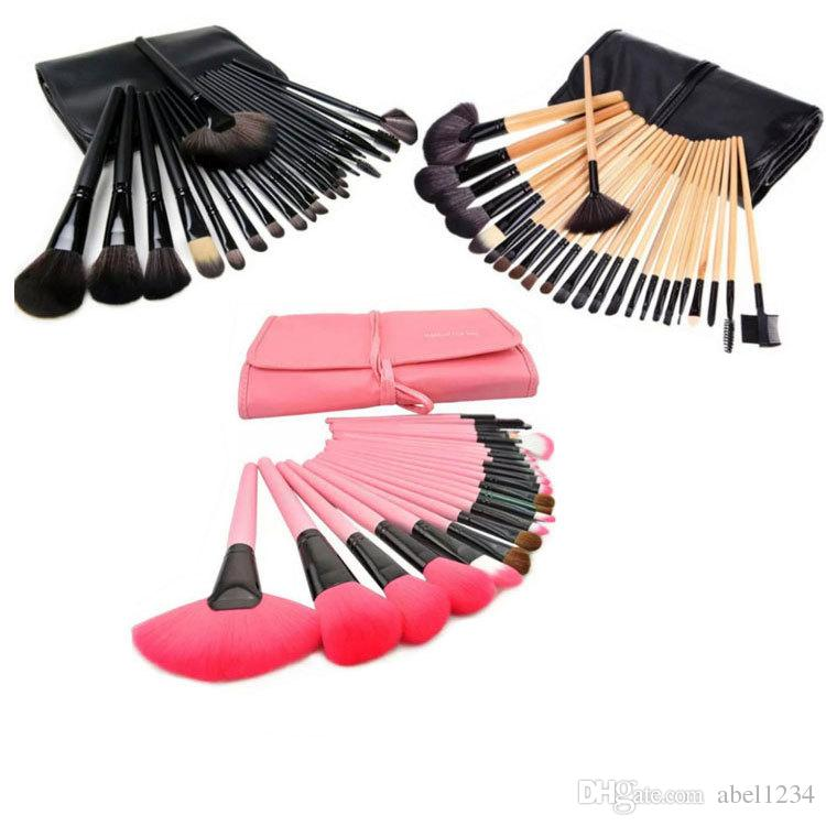 Makeup Brushes Cosmetic Brush Set Kit Makeup Brushes Pink Wood Handle+Goat Hair + Leather Case DHL
