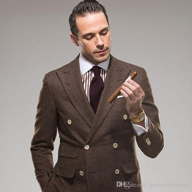 Custom Men Suits Khaki Tweed Double Breasted Peaked Lapel Blazer Vintage Tailored Made Tuxedo Casual Terno Masculino Jacket+Pants