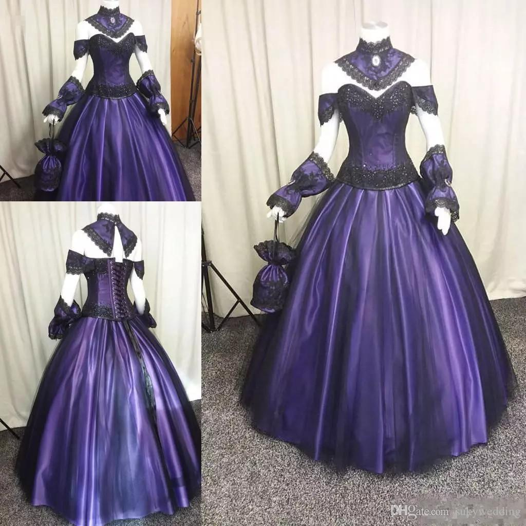 Purple And Black Gothic Wedding Dresses Lace Appliques Corset Steampunk Victorian Halloween Vampire Wedding Gowns With Choak Floor Length
