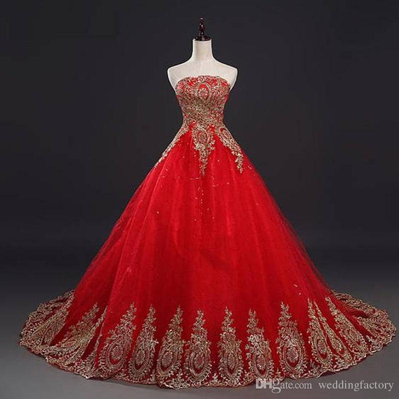Discount Red And Gold Wedding Dress Sequined Tulle A Line Strapless ...