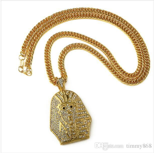 Gold Hip Hop Men's Punk Style Rock Pharaoh Pendant Necklace Pharaoh Rap 80cm Long Chain Necklaces Fashion Jewelry Men Gift