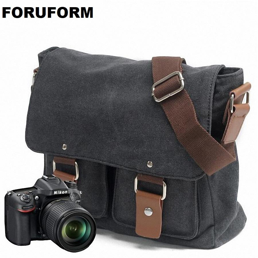 Portable Vintage Canvas DSLR Camera Shoulder Bag Diagonal Shoulder Messenger Bag For Canon For Nikon Sony Olympus LI-1830