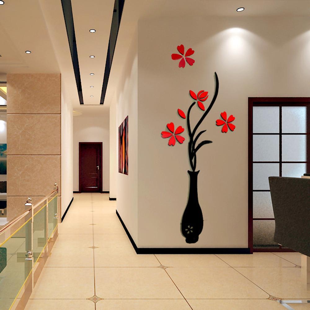 vase grande taille Acheter Grande Taille Coloré Vase À Fleurs 3D Acrylique Décoration Sticker  Mural Art DIY Affiche Murale Décor À La Maison Chambre Wallstick LJ399 De  $38.32 ...
