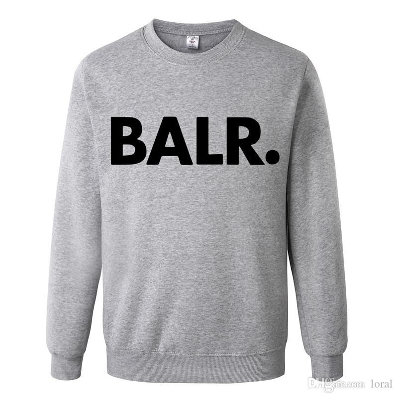 Männer Kleidung BALR Letters Printed Beiläufiger Pullover Ohne Kapuze Herren Einfarbig Tops Langarm Sweatshirts Kostenloser Versand