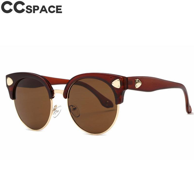 216efd323bb3 Cat Eye Retro Sunglasses Men Women Rivet Fashion Half Frame Shades UV400 Vintage  Glasses Oculos 46438 Sunglasses Eyeglasses From Qiuyeluo