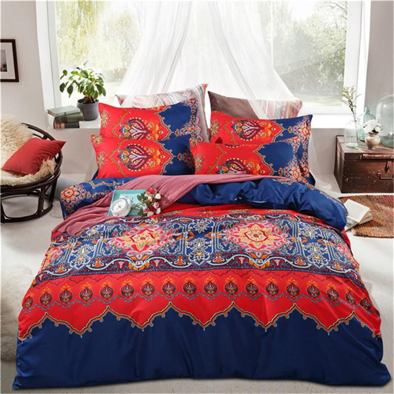 Delicieux Bedding Set 3 Sizes Red And Blue Small Floral Pattern Soft And Comfortable  Pillow Bed Sheets Pillow Case Quantity Blue Duvet Cover Queen Size  Comforter From ...
