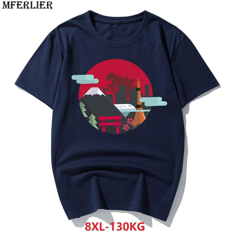 342d5241152 MFERLIER Summer 2018 5XL Funny T Shirts Men Plus Size Big 6XL 7XL 8XL Japan Style  TShirt With Cotton Short Sleeve Navy Blue Gray Coolest Shirts Funny T ...