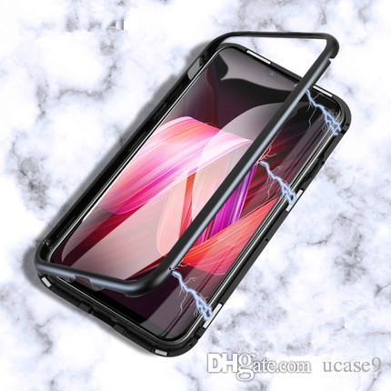 wholesale dealer 327d7 94592 Magnetic Adsorption Metal Marvel Mobile Phone Case for Iphone 6s 6splus 7  7Plus 8 8Plus X XS Xr XSmax with Luxury Tempered Glass Cover