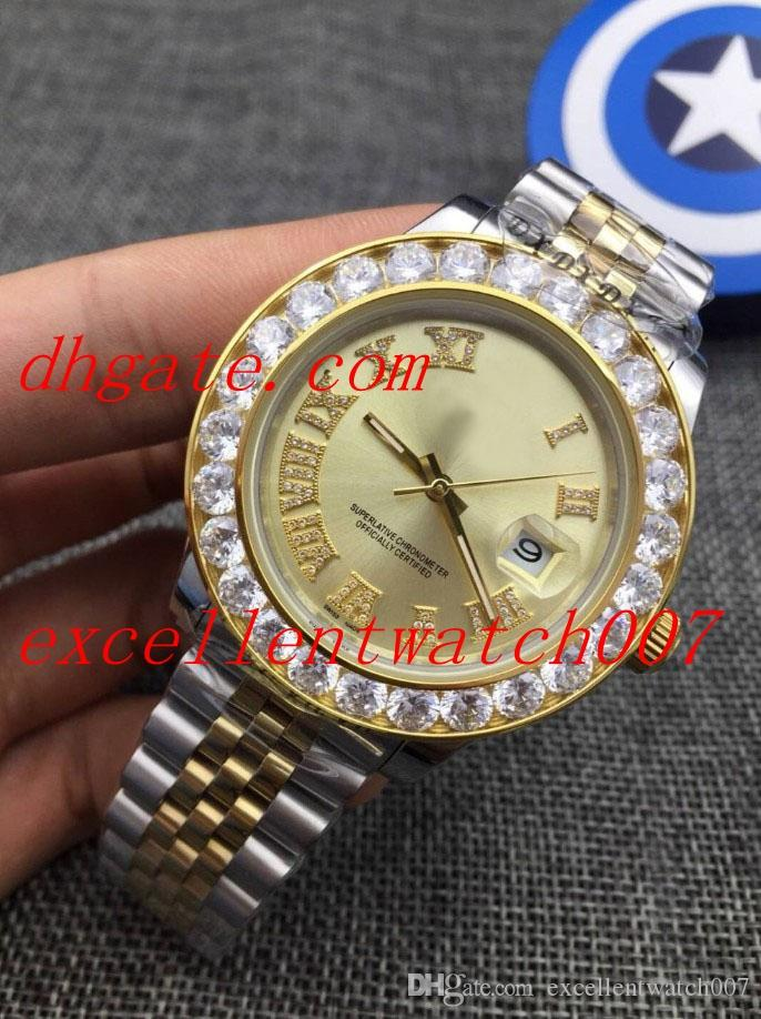 Vendita calda Top Quality Asia 2813 Movimento oro giallo 18 carati Presidente Diamante superficie del vino romano quadrante 225235 Mens Automatic Watch