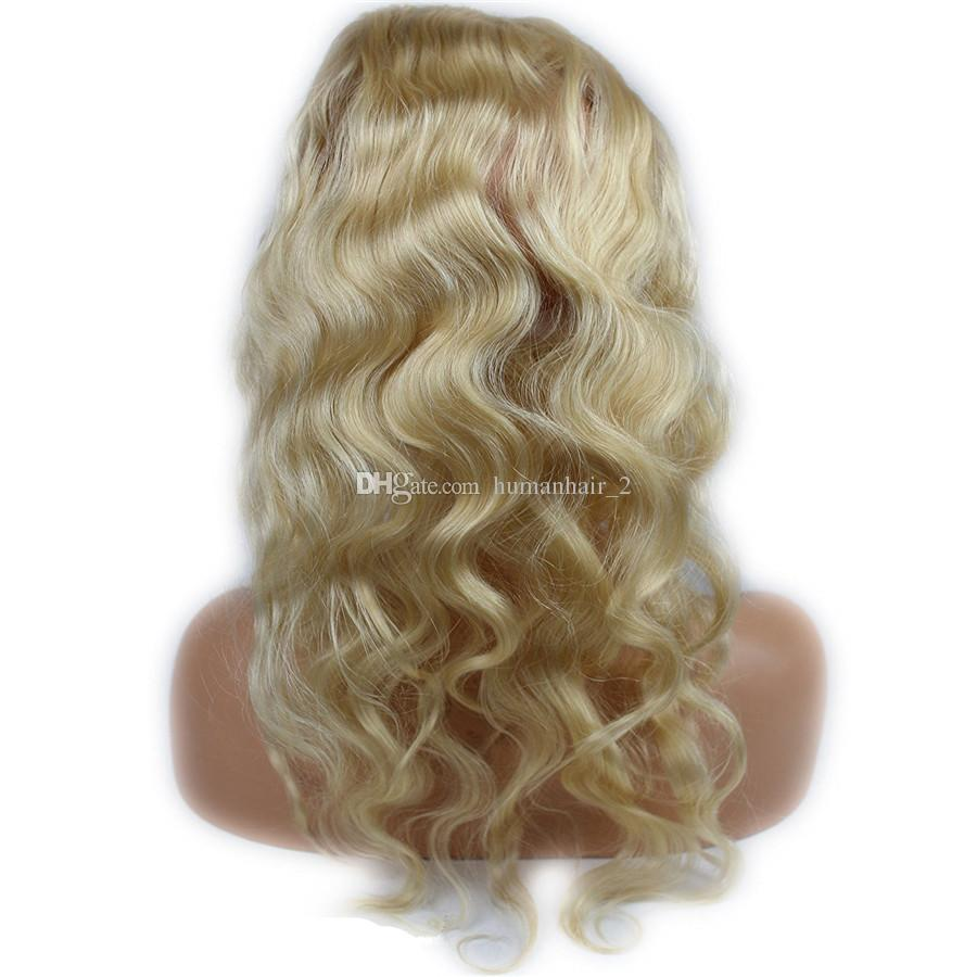 #613 Blonde 22.5X4X2 Russian Body wave 360 closure with bundles human hair wave Blonde hair weaves with full lace frontal