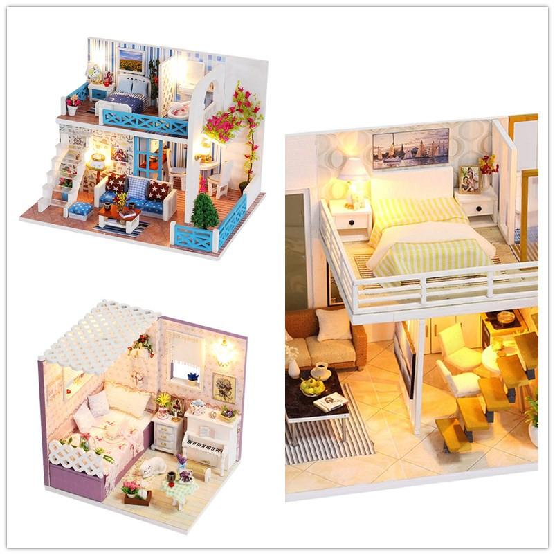 Toyzhijia 1813513cm Wooden Doll Houses Miniature Dollhouse Furniture Kit Toys For Children Christmas Gift Diy Doll House