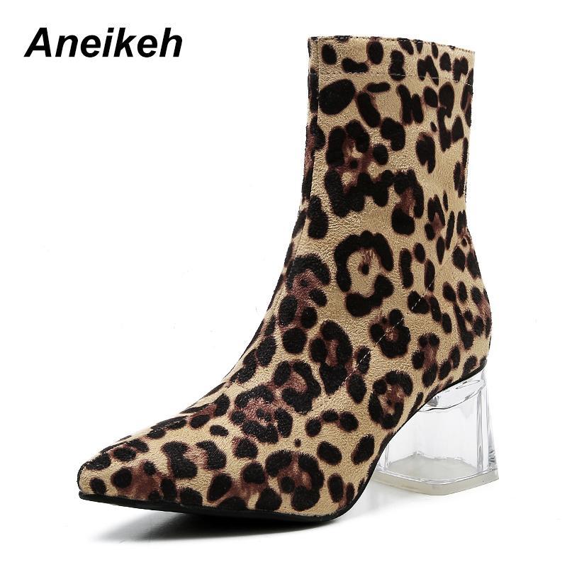 64e426f432e90 Acheter Aneikeh Chaussures 2018 Nouvelles Femmes Bottes À Glissière Bottes  Snake Imprimé Bottines Cristal Talon De Mode Bout Pointu Dames Sexy Chelsea  De ...