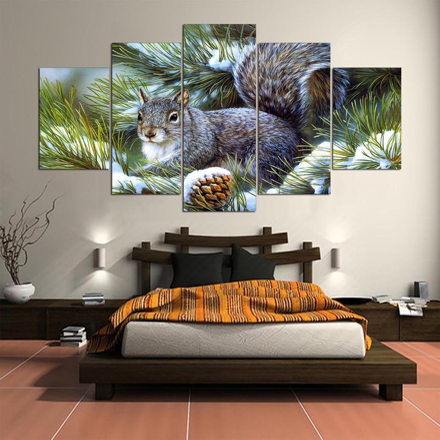 Acheter Peinture Abstraite Oeuvre Mur Cadre Image Pour Salon 5 Panneau  Mignon Animal Toile Peinture Moderne Salon Décoratif De $8.89 Du Z793737893  | DHgate.