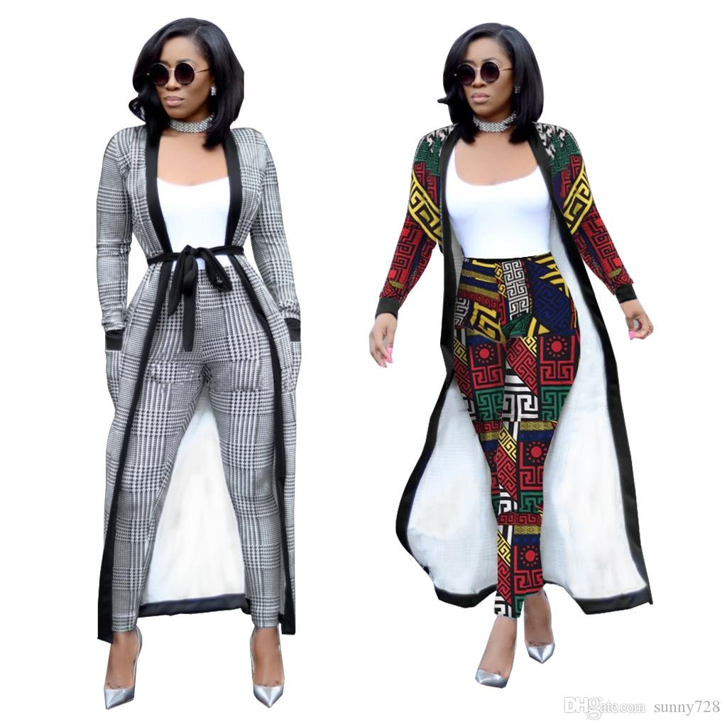 13aab68311 Autumn Women Two Pieces Long Jacket And Pants Suits S--2XL 2018-2019 ...