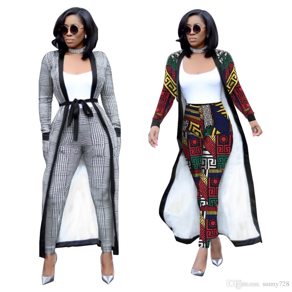 67de35ea738 Autumn Women Two Pieces Long Jacket And Pants Suits S--2XL 2018-2019 ...
