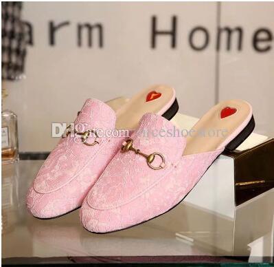 Tasarımcı Kadın Dantel terlik loafers Muller ayakkabı Altın toka ile kadın Prenstown terlik Bayanlar Casual Katır Daireler Yeni