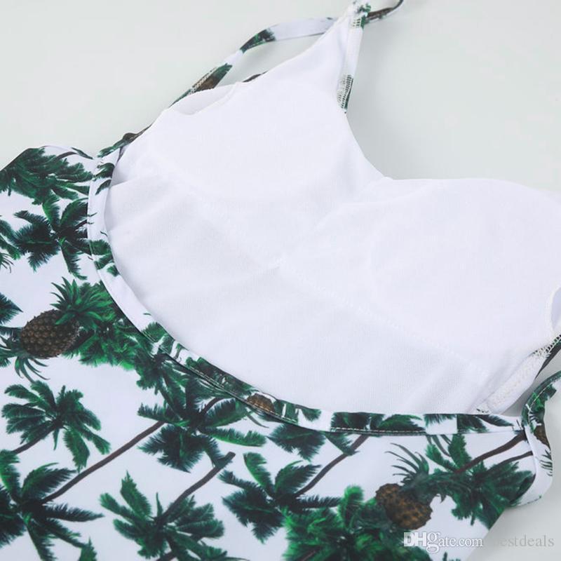 Koreanischer Art-Frauen-Bikini-Satz füllte Druck-Quasten-Grün-Waldblumenbadebekleidungs-Badeanzug-Badebekleidung Beachwear Bodysuit SO0516 auf