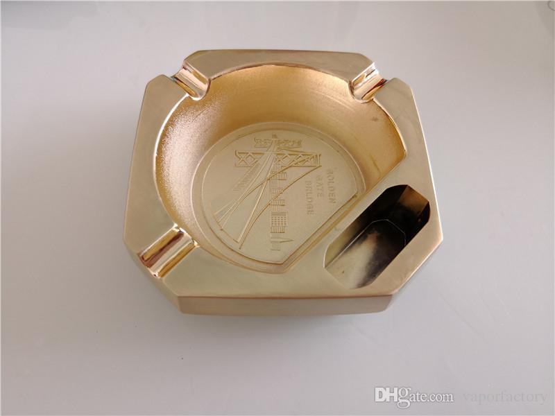 Livraison gratuite doré Creative Design portable Cigarette en métal Cendrier De Luxe vintage cigarette Accessoires Porte-cigarette fumer cendrier