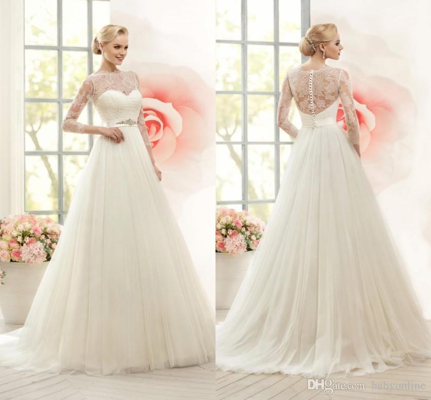 Discount 2019 Summer New Bridal Sheer Long Sleeves Wedding Dresses A Line  Floor Length With Belt Long Boho Wedding Gowns Maternity Plus Size BA1979  Corset ... 0a85969b3f2c