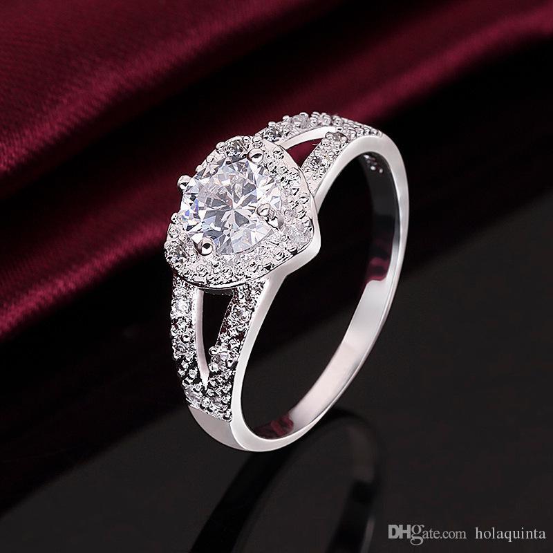 Bonito anel de ouro branco jóias moda charme mulher casamento pedra senhora alta qualidade cristal CZ Anel amor presente