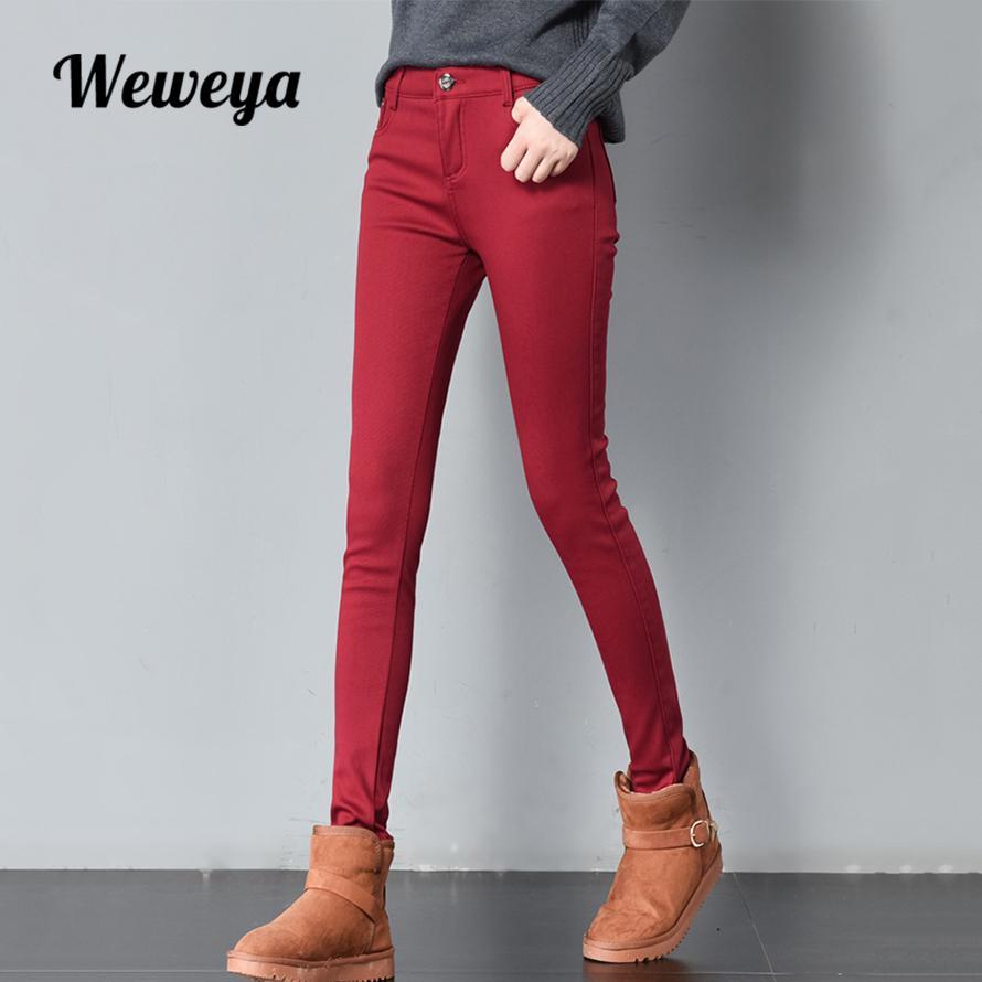 3297903b344da5 Großhandel Weweya Hohe Taille Weiß Winter Jeans Für Frauen Warme Dicke Samt  Dünne Bleistift Jeans Hosen Frau Plus Cashmere Multicolor Jeans S18101603  Von ...